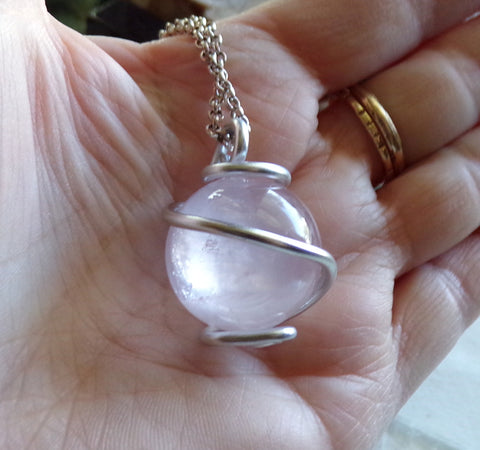 Natural Rose Quartz Luminous Crystal Ball Pendant Necklace
