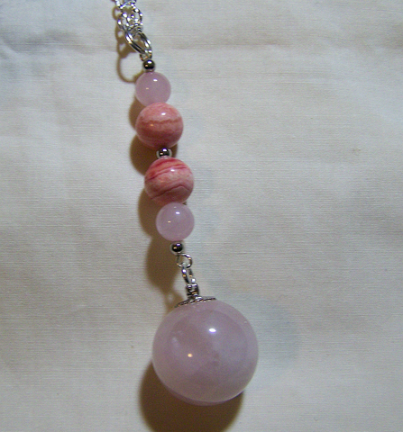 Rose Quartz Crystal Ball Pendant