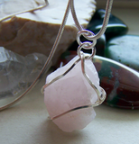 Natural Rose Quartz Raw Gemstone Wire Wrapped Pendant