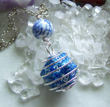 Blue D20 Caged Gamer's Dice Tao Character Shou Bead Pendant Necklace