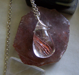 Red Rutilated Quartz Wire Wrapped Crystal Pendant Necklace