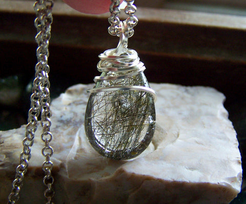 Natural Green Rutilated Quartz Crystal Pendant Necklace