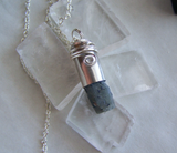 Natural Raw Sapphire Wire Wrapped Silver Bullet Pendant