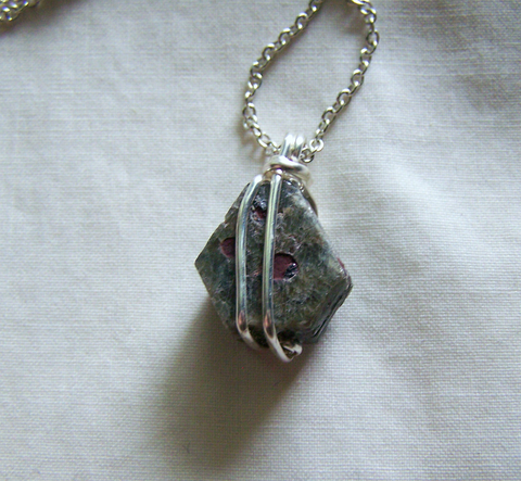 Natural Green Sapphire Corundum Red Hematite Wire Wrapped Pendant