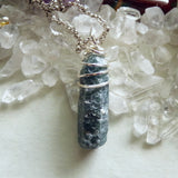 Natural Blue Sapphire Raw Gemstone Wire Wrapped Pendant Necklace