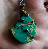 Sea Jasper Green Variscite Wire Wrapped Pendant