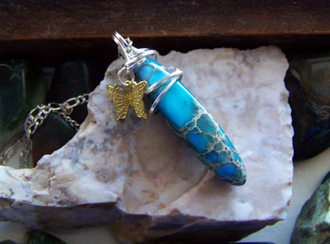 Blue Sea Jasper Gold Butterfly Pendant Necklace