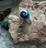 Natural Seashell Spiral Beads Pendant Necklace