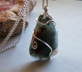 Seftonite Bloodstone Wire Wrapped Gemstone Pendant