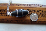 Black Shiva Lingam Natural Stone Wire Wrapped Pendant