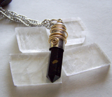 Russian Shungite Wire Wrapped Silver Bullet Jewelry Pendant