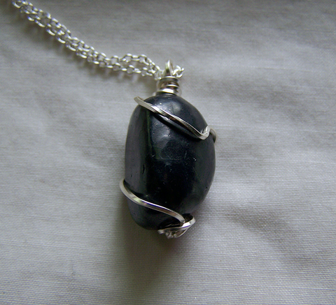 Natural Polished Shungite Wire Wrapped Stone Pendant – My Mystic Gems
