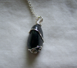 Natural Polished Shungite Wire Wrapped Stone Pendant