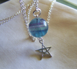 Sterling Silver Star Blue Rainbow Fluorite Crystal Ball Pendant