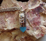 Day of the Dead Iridescent Skull Silver Bullet Pendant Necklace