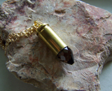 Smoky Quartz Faceted Crystal Bullet Jewelry Pendant