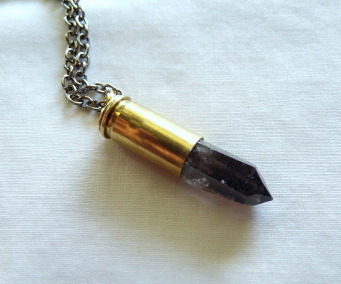 Natural Smoky Quartz Crystal Bullet Pendant Necklace