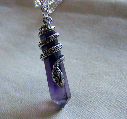 Sterling silver snake amethyst crystal pendant necklace my mystic gems sterling silver snake amethyst crystal pendant necklace aloadofball Image collections