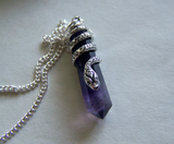 Sterling Silver Snake Amethyst Crystal Pendant Necklace