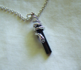 Silver Snake Black Tourmaline Crystal Jewelry Necklace