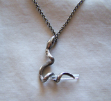 Vintage Sterling Silver Snake with Quartz Crystal Pendant