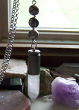 Spider Web Jasper Black and White Quartz Crystal Bullet Necklace