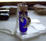 Celestial Cobalt Blue Glass Spirit Bottle Pendant