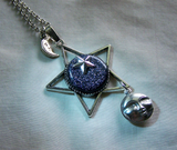 Night Stars Celestial Moon and Star Pendant