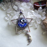 Silver Star Lampwork Glass Moon and Stars Pendant Necklace