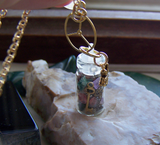 Gemstones and Vintage Watch Parts Miniature Bottle Pendant