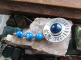Vintage Pewter Sundial Blue Agate Beads Pendant Necklace