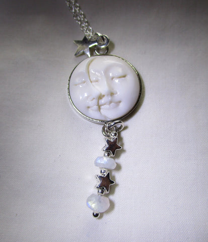 Sun and Moon Face Natural Carved Bone Moonstone Pendant Necklace