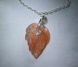 Natural Carved Oregon Sunstone Autumn Leaf Gemstone Pendant
