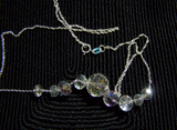 Aurora Borealis Swarovski Crystals Sterling Silver Necklace