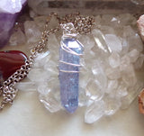 Indigo Aura Tanzanite Quartz Crystal Pendant Necklace
