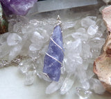 Tanzanite Blue Violet Raw Gemstone Crystal Pendant Necklace