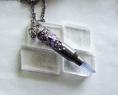 Indigo Aura Quartz Filigree Bullet Jewelry Pendant Necklace