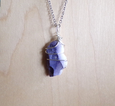 Natural Opal Fluorite Violet Tiffany Stone Pendant Necklace