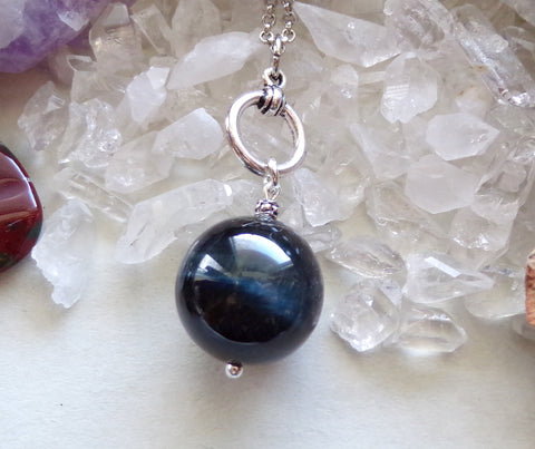 Blue Hawk's Eye Gemstone Crystal Ball Pendant Necklace