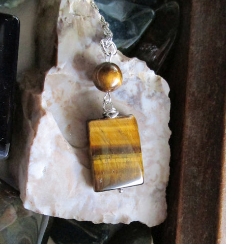 Natural Gold Tiger's Eye Gemstone Crystal Pendant Necklace