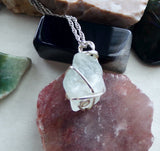 Natural Blue Topaz Raw Gemstone Pendant Necklace