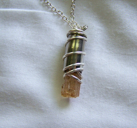 Gold Imperial Topaz Silver Wire Wrapped Bullet Pendant
