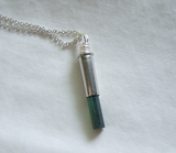 Green Tourmaline Gemstone Silver Bullet Pendant Necklace