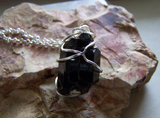 Black Tourmaline Raw Schorl Gemstone Crystal Pendant