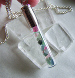 Tourmaline Gemstones Glass Cylinder Silver Bullet Jewerly Pendant