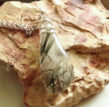 Natural Green Tourmaline Quartz Crystal Pendant Necklace