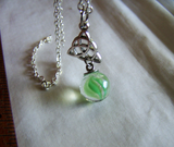 Celtic Knot Witch's Ball Green Glass Protection Pendant