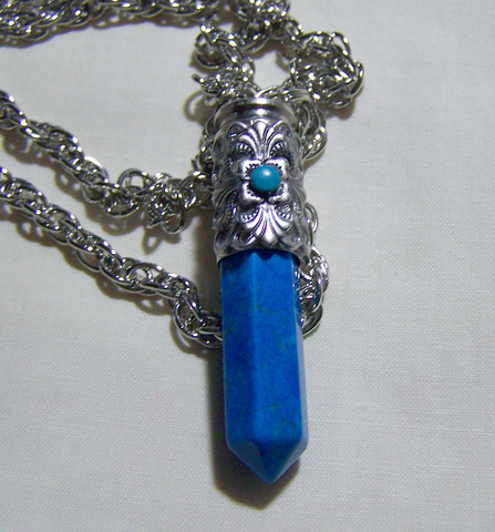 Filigree Turquoise and Howlite Bullet Jewelry Pendant