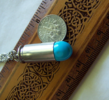 Turquoise Gemstone Silver Bullet Jewelry Pendant