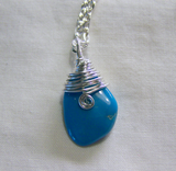 Natural Sleeping Beauty Turquoise Wire Wrapped Pendant